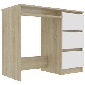 vidaXL Schreibtisch Weiß Sonoma-Eiche 90 x 45 x 76 cm Spanplatte