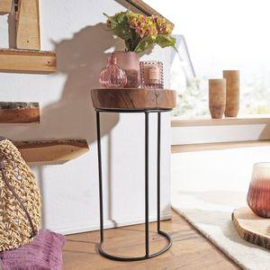 WOHNLING Beistelltisch AKOLA Massiv-Holz Sheesham Wohnzimmer-Tisch Metallbeine Landhaus-Stil Baumstamm-Form Echt-Holz Natur