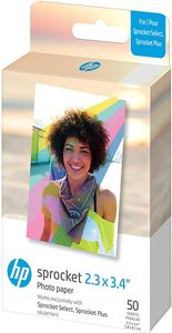 HP Sprocket 5.8x8.7 cm Premium Zink Sticker Fotopapier (50 Blatt) Kompatibel mit HP Sprocket Select Fotodruckern