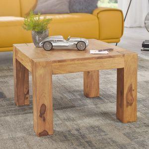 WOHNLING Couchtisch MUMBAI Massiv-Holz Akazie 60 cm breit Wohnzimmer-Tisch Design braun Landhaus-Stil Beistelltisch natur