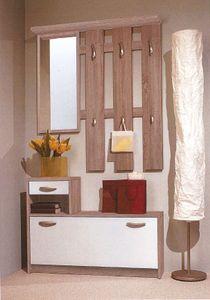 Garderobe Vera, Kompaktgarderobe, Spiegel + Schuhkipper + Paneel, Sonoma Weiß