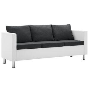 vidaXL 3-Sitzer-Sofa Kunstleder Weiß und Dunkelgrau