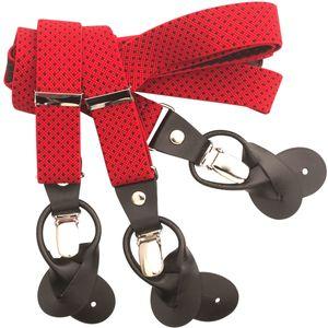 LINDENMANN Hosenträger Herren, Y-From mit Kombisytem, 25 mm, Stretch, rot-schwarz, 9501-003, Größe / Size:120, Farbe / Color:rot