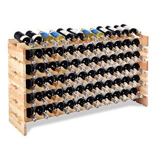COSTWAY Weinregal aus Holz Flaschenregal Weinstaender Holzregal Weinschrank Flaschenstaender fuer 72 Flaschen