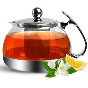 Monzana Teekanne mit herausnehmbarem Sieb aus Edelstahl 1,2 Liter Glas Teebreiter Teekannen Kanne Siebeinsatz