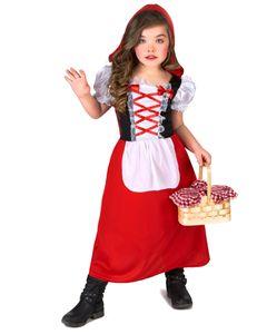 Rotkäppchen Märchenkostüm für Kinder rot-weiss-schwarz