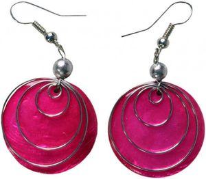 Ohrringe aus Muschel in vielen schönen Farben, Farbe:pink