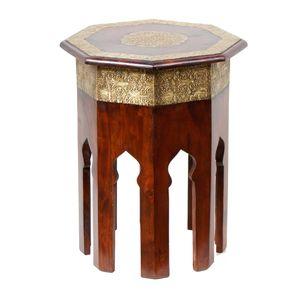 Casa Moro Orientalischer Beistelltisch Meena H 52 Ø 40 cm aus Massivholz mit Messing verziert achteckig | Handmade Couch