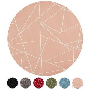 Teppich Boss Design Kurzflor Teppich Shard Scherben Look rund , Größe:140 cm, Farbe:rosa/creme