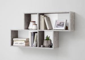 FMD Möbel NORA Wandregal - Beton Light Atelier/weiß - Maße: 100 cm x 53 cm x 19,5 cm; 270-001