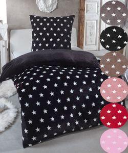 Warme Winter Plüsch Sterne Wende-Bettwäsche Nicky-Teddy 'Cashmere Touch'  viele Farben & Größen, Farbe:Schwarz, Größe:135 x 200 cm