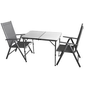 3tlg. Campingmöbel-Set Campingtisch 'Bergen' 90x60cm + 2x Hochlehner 'Miami' Grau / Grau