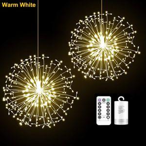 ※198 LEDs Feuerwerk Lichterkette 8 Lichtmodi Löwenzahn Lichter Wasserdicht Außen Garten Weihnachten Deko, Warmweiß
