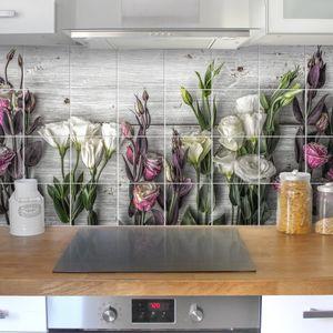Fliesenbild Tulpen-Rose Shabby Holzoptik, Fliesengröße HxB:15cm x 15cm, Größe HxB:60cm x 120cm