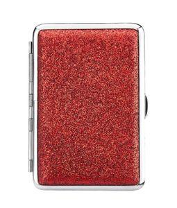 ZIGARETTENETUI mit Glitzer für 14 Zigaretten Etui Zigarettenbox Box Case Dose 57 (Rot)