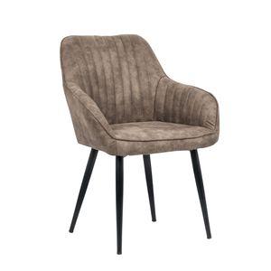 Edler Design Stuhl TURIN vintage taupe grau mit Armlehne