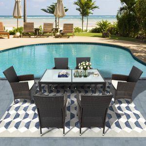 Merax Polyrattan Balkonmöbel 6+1 Sitzgruppe Esstisch Lounge Set Gartenmöbel Set mit 6 Stühle &  Tisch, 7-teilig Wetterfest Rattan Gartengarnitur, Braun