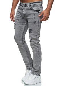 Reslad Jeans Herren Destroyed Look Slim Fit Denim Stretch Jeans-Hose Grau (2090) W36 / L32