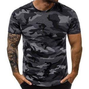Herren Camouflage Kurzarm Rundhalsausschnitt Casual Tops T-Shirt Bluse Pullover Tunika,Farbe: Dunkelgrau,Größe:3XL