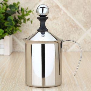 400ml Edelstahl Milchaufschäumer Cappuccino Coffee Doppel Froth Pumpen -(als Bild zeigen,)
