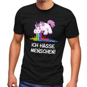 Herren T-Shirt Spruch Ich hasse Menschen kotzendes Einhorn Fun-Shirt Spruch lustig Moonworks® schwarz XL