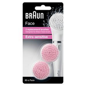 Braun Face 80-s Extra Sensitive Bürste für empfindliche Haut – 2 Ersatzbürsten