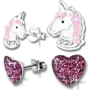 2x Kinder Ohrringe  Echt 925 Silber Pferde Einhorn Mädchen Ohrstecker Herz Edelstahl K207+K160