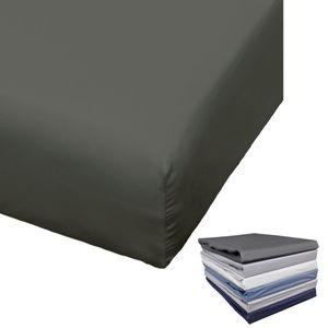 Bierbaum Spannbettlaken Mako Satin 90-100x200 / 140-150x200 / 180-200x200 cm Weiß Anthrazit Silber Grau Blau Sand, Farbe:Anthrazit, Größe:180x200cm Spannbettlaken