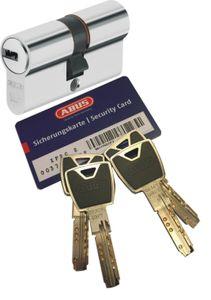 ABUS XP20S Doppelzylinder Länge (a/b) 45/65mm (c=110mm) mit Sicherungskarte und 4 Schlüssel mit Design-Clip, Not-u. Gefahrenfunktion und SKG** Bohrschutz