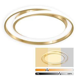 LED Deckenleuchte, Ring Design, dimmbar, D 50cm ,46W Deckenlampen Wohnzimmer Küchen Lampe,Gold