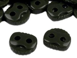 10 Kordelstopper mit zwei Löchern 20x20mm, Durchzug 5mm, Farbe:dunkelkhaki