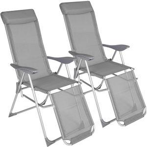 tectake 2 Aluminium Gartenstühle mit Kopfteil und Fußteil - grau