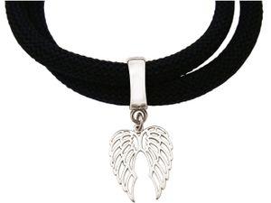 Damen Armband Wickelarmband 925 Silber Flügel Schwarz