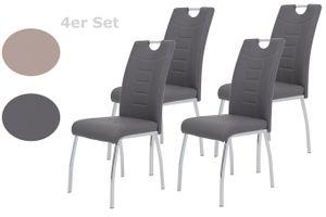4er Set  Stuhl Andrea - Kunstleder Grau - Bügelgriff und Metallgestell verchromt -140 kg Belastbarkeit