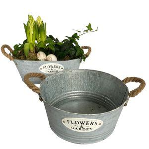 """2 Blumentöpfe, Schalen aus Zink, rund und oval mit Schriftzug """"Flowers & Garden"""" - Garten Blumentopf Set P13"""