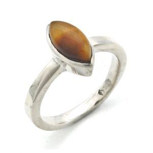Tigerauge Ring 925 Silber Sterlingsilber Damenring braun (MRI 138-18),  Ringgröße:60 mm / Ø 19.1 mm