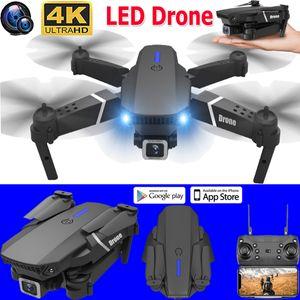 USB LED Faltbar 360°drehbar 2,4G WIFI FPV Drohne mit 4K HD Dual Kamera Selfie Video Quadrocopter Durable RC Drone m.1800mAh batterie