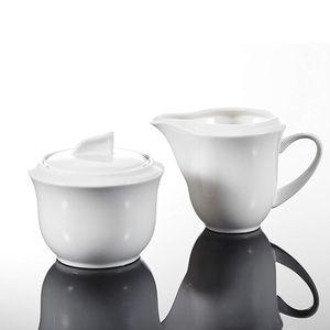 MALACASA, Serie Carina, Porzellan Milch und Zucker Set mit Deckel