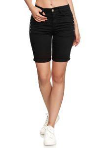 Damen Kurze Jeans Shorts leichte Sommer Bermuda Hose Casual Design, Farben:Schwarz, Größe:36