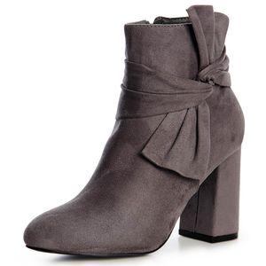 topschuhe24 1510 Damen Velours Stiefeletten Ankle Boots Schleife Fransen, Farbe:Grau Schleife, Größe:36 EU