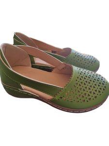Abtel Damen Sandalen Lässige Hohle Keilschuhe Einfarbige High Heels All-Match-Schuhe,Farbe:Grün,Größe:39