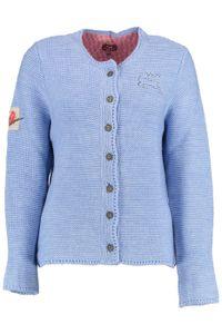 Damen Trachten Wolljanker Strickjacke Tracht Weste , Größe:40, Farbe:Hellblau