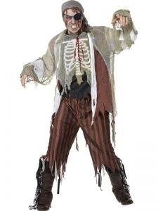 Gruseliges Piraten-Kostüm Grösse L 52 / 54 Seeräuber Geist Mumie Skelett Zombie  4 Teile Verkleidung Halloween-Kostüm
