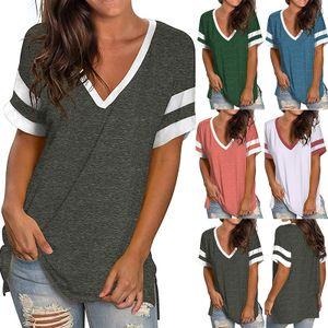 Frauen Bedruckte Top Kurzarm Casual V-Neck Pullover,Farbe: Grau,Größe:M