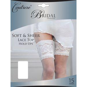 Couture Damen Braut Halterlose Strümpfe mit Spitzenabschluss LW128 (Large) (Weiß)