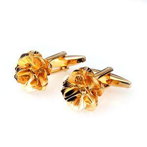 Kristallgold Blütenblatt Blätter Manschettenknöpfe Atemberaubende Hemd Anzug Kleidung Zugang