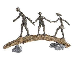 Casablanca Skulptur Balance Familie, Vater mit 2 Kindern auf Baumstamm 16270