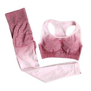 Damen 2 teiliges Set Trainingsanzug Übung Laufen Workout Outfits Activewear Set M. Rosenrot Yoga-Outfits Farbverlauf Yoga BH Set