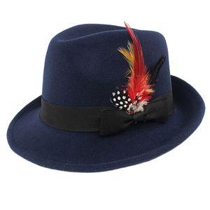 Männer Frauen Bogarthut Sonnenhut Strandhut Flizhut Panamahut Partyhut Feder Kopfbedeckung Farbe Navy blau