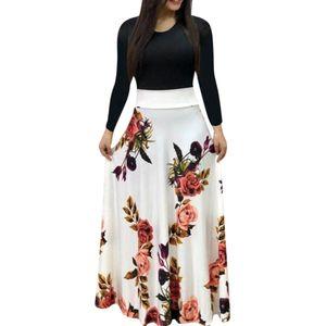 Frauen Sexy Langarm Druckkleid Damen Langes Maxikleid Größe:L,Farbe:Weiß